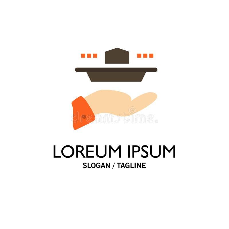 Ο σερβιτόρος, εστιατόριο, εξυπηρετεί, μεσημεριανό γεύμα, πρότυπο επιχειρησιακών λογότυπων γευμάτων Επίπεδο χρώμα απεικόνιση αποθεμάτων