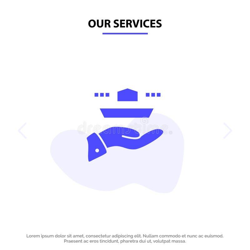 Ο σερβιτόρος υπηρεσιών μας, εστιατόριο, εξυπηρετεί, μεσημεριανό γεύμα, στερεό πρότυπο καρτών Ιστού εικονιδίων Glyph γευμάτων ελεύθερη απεικόνιση δικαιώματος