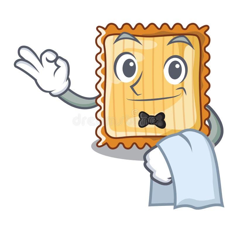 Ο σερβιτόρος lasagne είναι μαγειρευμένος στο φούρνο μασκότ διανυσματική απεικόνιση
