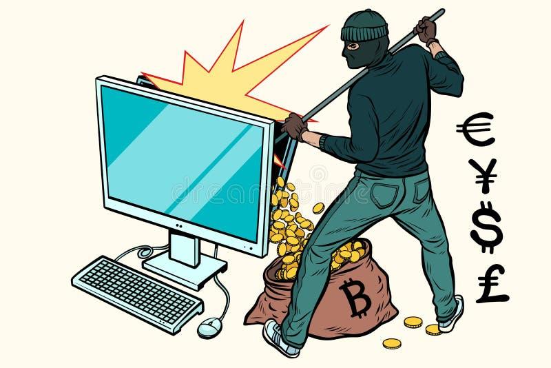 Ο σε απευθείας σύνδεση χάκερ κλέβει τα χρήματα από τον υπολογιστή ελεύθερη απεικόνιση δικαιώματος