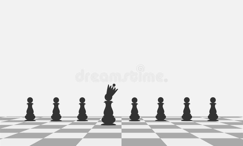 Ο σημαντικότερος των ενέχυρων Μαύρο ενέχυρο με μια κορώνα σε μια σκακιέρα διάνυσμα διανυσματική απεικόνιση