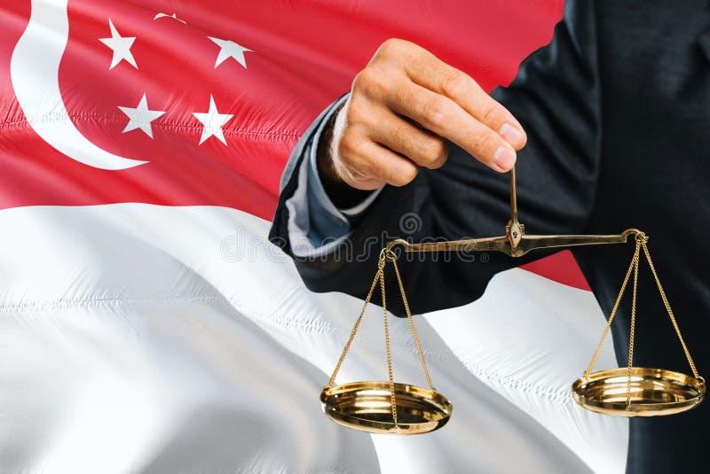 Ο σιγκαπούριος δικαστής κρατά τις χρυσές κλίμακες της δικαιοσύνης με τη Σιγκαπούρη που κυματίζει το υπόβαθρο σημαιών Θέμα ισότητα στοκ εικόνες με δικαίωμα ελεύθερης χρήσης
