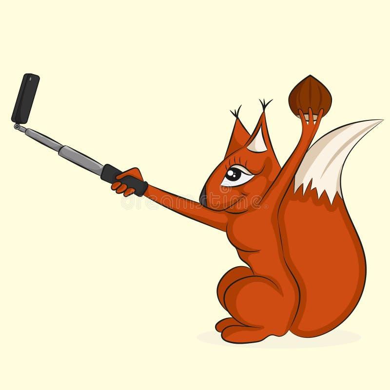 Ο σκίουρος με το καρύδι κάνει selfie διανυσματική απεικόνιση