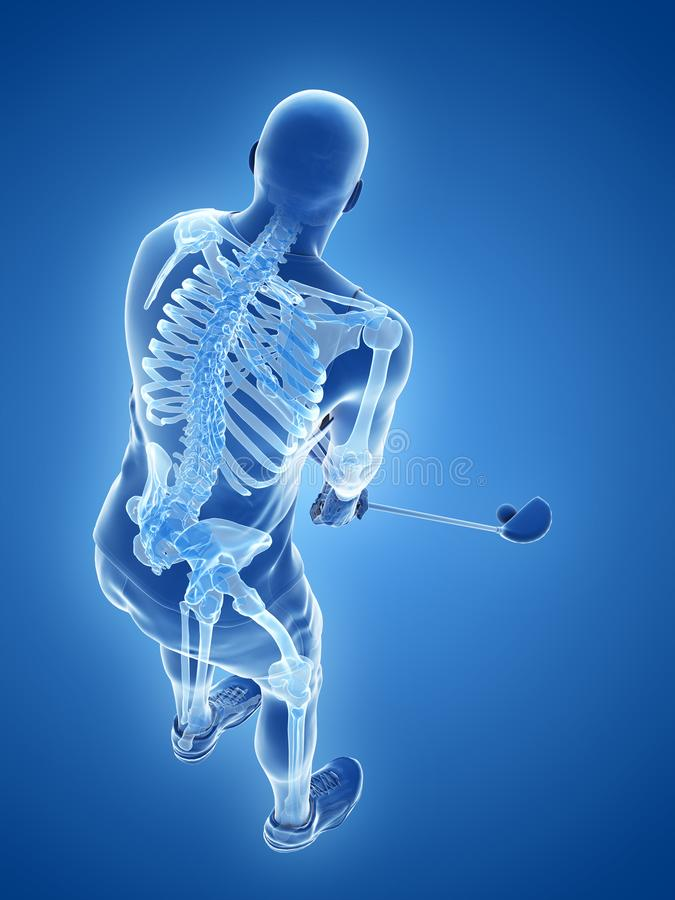 Ο σκελετός ενός φορέα γκολφ ελεύθερη απεικόνιση δικαιώματος