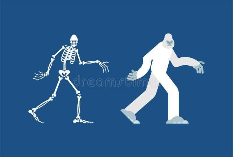 Ο σκελετός Yeti Κρανίο και κόκκαλα Bigfoot Αποτρόπαιος χιονάνθρωπος sasquatch παραμένει απεικόνιση αποθεμάτων