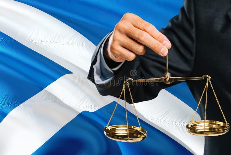 Ο σκωτσέζικος δικαστής κρατά τις χρυσές κλίμακες της δικαιοσύνης με το κυματίζοντας υπόβαθρο σημαιών της Σκωτίας Θέμα ισότητας κα στοκ εικόνες