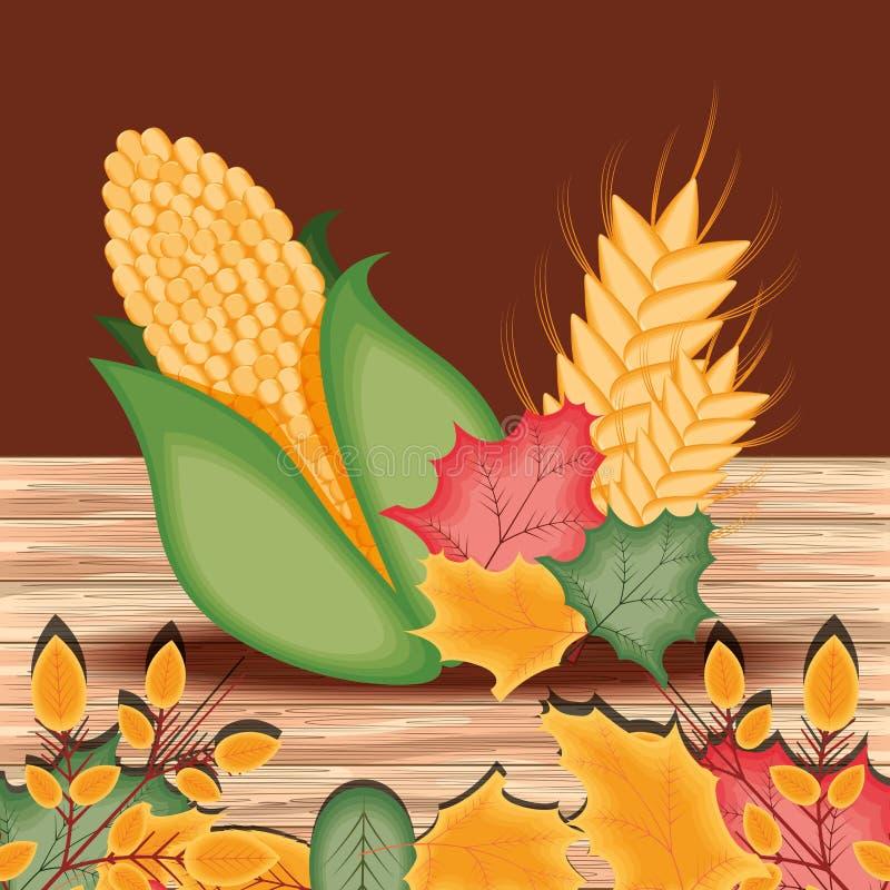 Ο σπάδικας με βγάζει φύλλα για την ημέρα των ευχαριστιών διανυσματική απεικόνιση