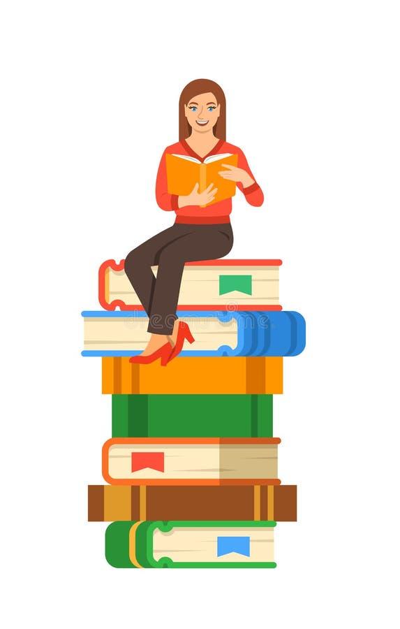 Ο σπουδαστής νέων κοριτσιών κάθεται στο σωρό των γιγαντιαίων βιβλίων απεικόνιση αποθεμάτων