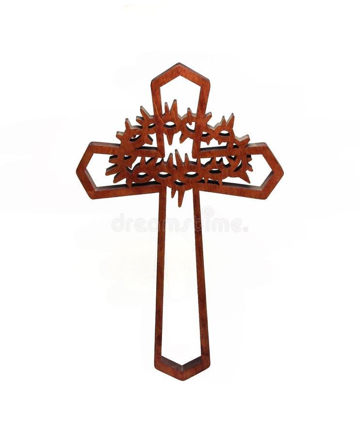 ο σταυρός απομόνωσε ξύλινο στοκ φωτογραφία