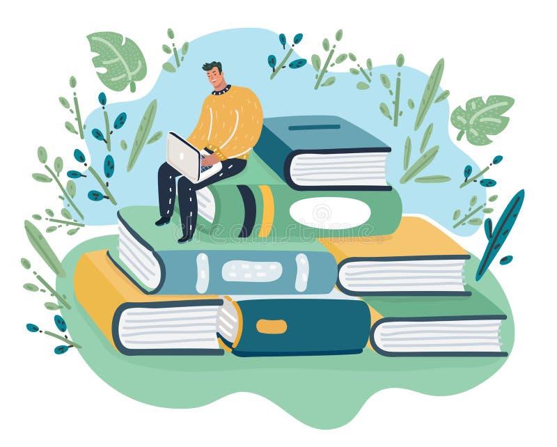 Ο στοχαστικός νεαρός άνδρας κάθεται στο σωρό των βιβλίων διανυσματική απεικόνιση