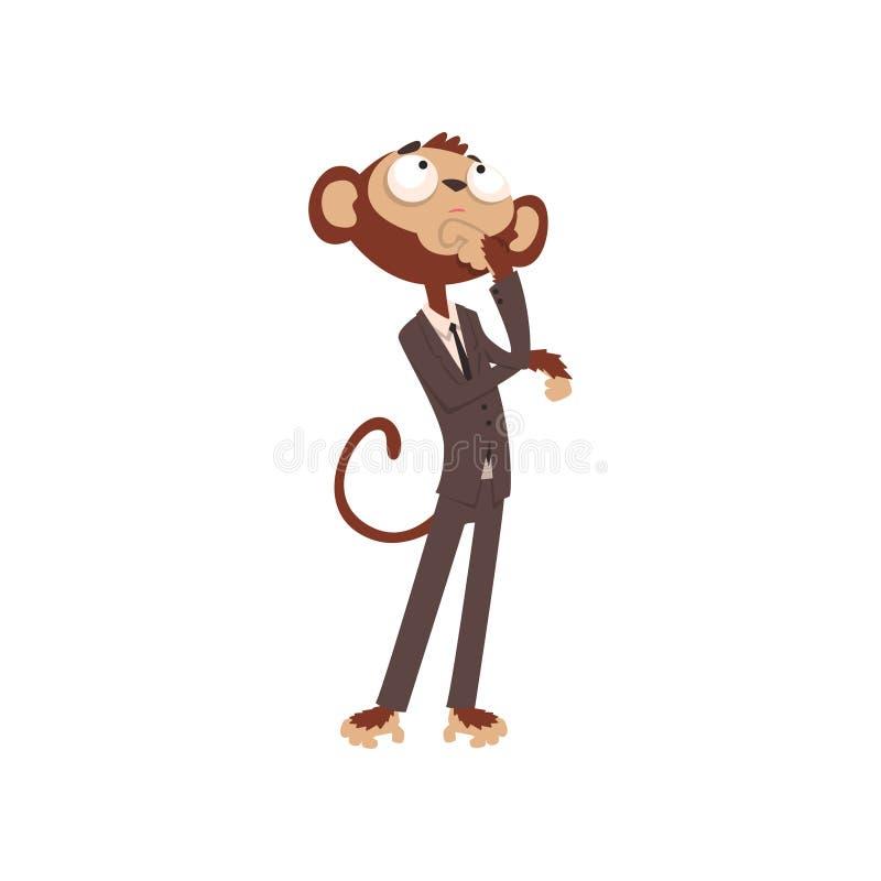 Ο στοχαστικός χαρακτήρας κινουμένων σχεδίων επιχειρηματιών πιθήκων έντυσε στην ανθρώπινη διανυσματική απεικόνιση κοστουμιών σε έν ελεύθερη απεικόνιση δικαιώματος