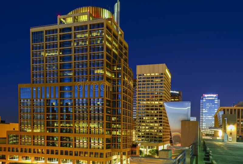 Ο στο κέντρο της πόλης Phoenix, Αριζόνα τη νύχτα στοκ εικόνες με δικαίωμα ελεύθερης χρήσης