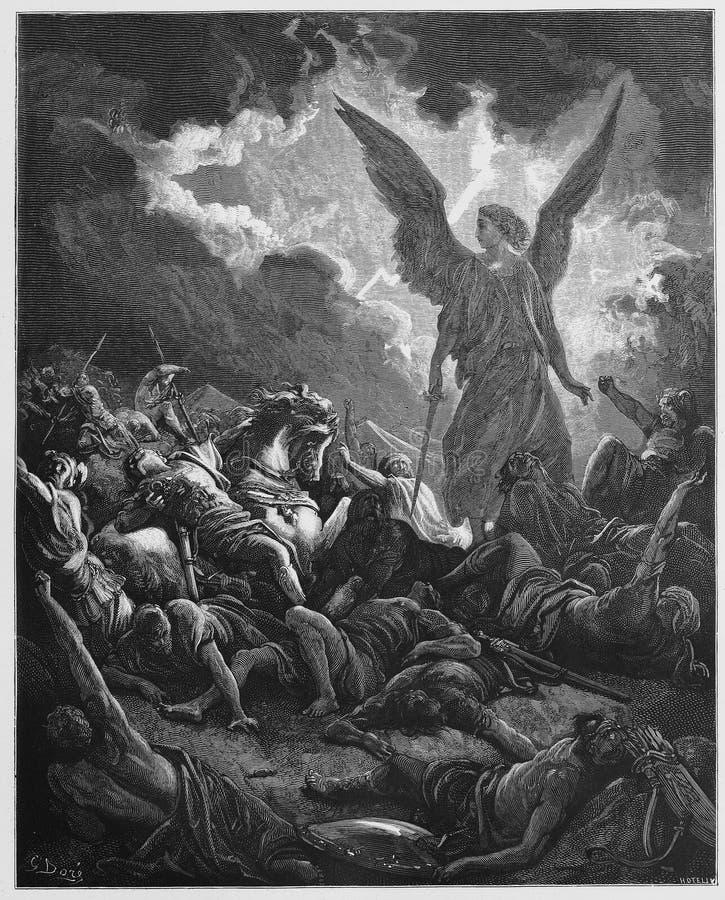 Ο στρατός του Σενναχειρείμ καταστρέφεται διανυσματική απεικόνιση