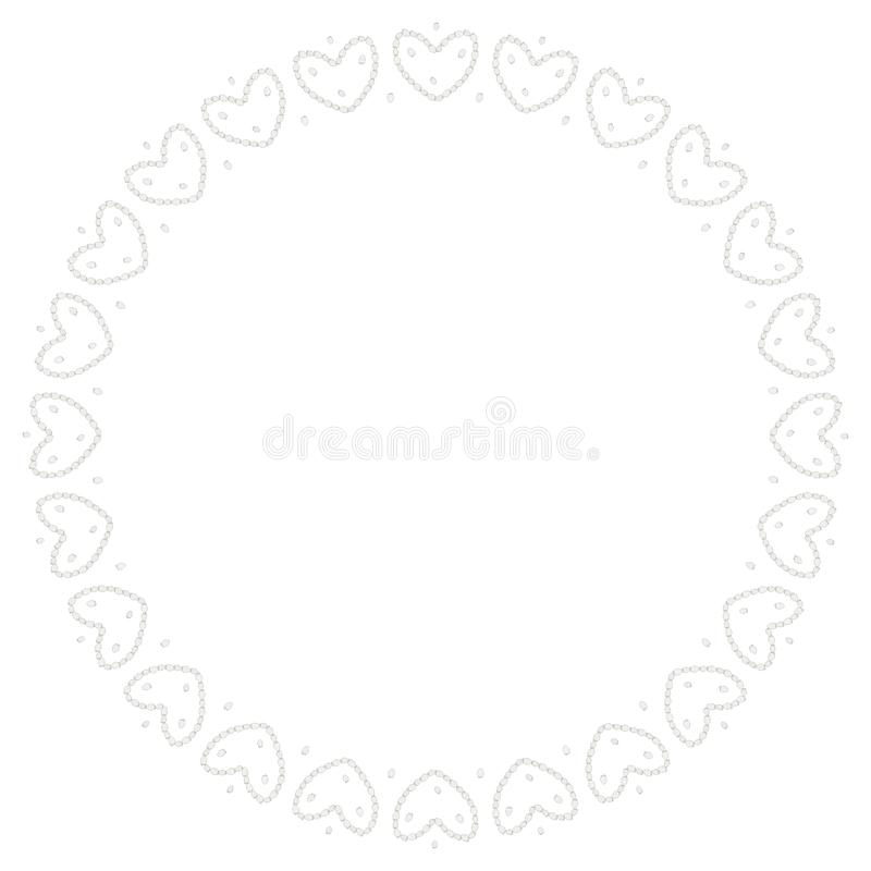 Ο στρογγυλός Μαύρος είναι ένα άσπρο πλαίσιο των φραουλών με μορφή των καρδιών r r ελεύθερη απεικόνιση δικαιώματος