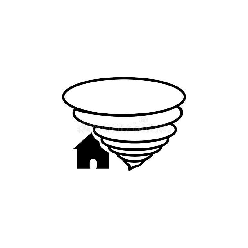 Ο στρόβιλος ανεμοστροβίλου βλάπτει το εικονίδιο του χωριού σπιτιών Στοιχεία του εικονιδίου φυσικών καταστροφών Γραφικό σχέδιο εξα απεικόνιση αποθεμάτων
