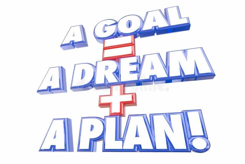 Ο στόχος είναι ίσος με το όνειρο συν τις λέξεις σχεδίων ελεύθερη απεικόνιση δικαιώματος