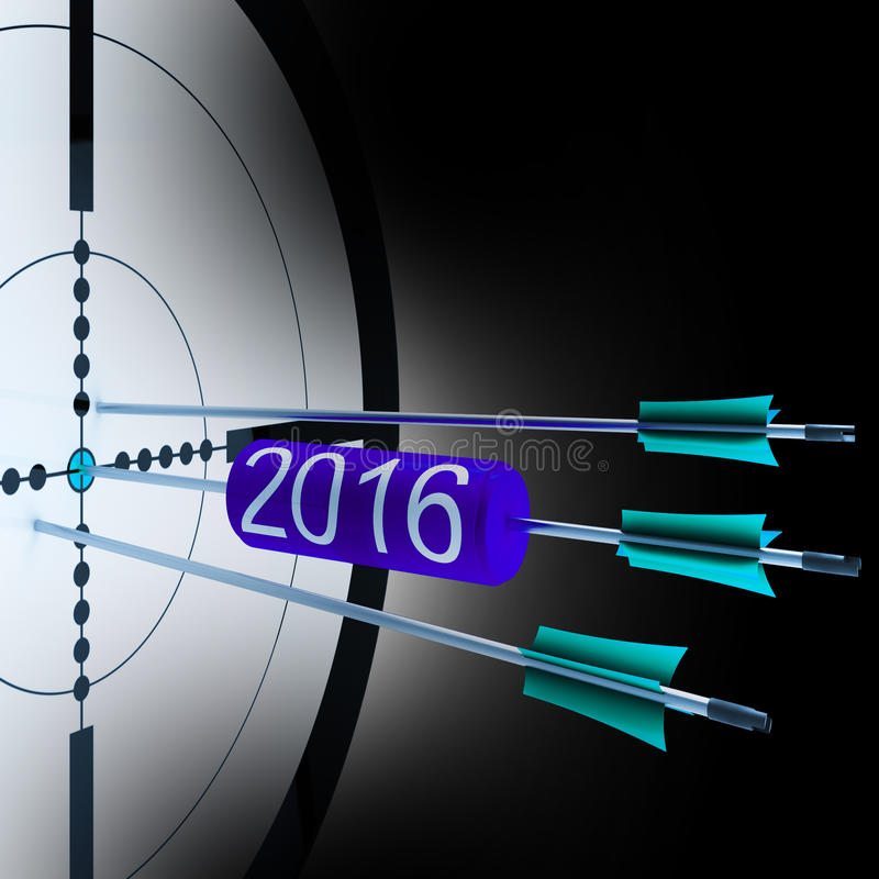 2016 ο στόχος εμφανίζει επιτυχή μελλοντική ανάπτυξη διανυσματική απεικόνιση