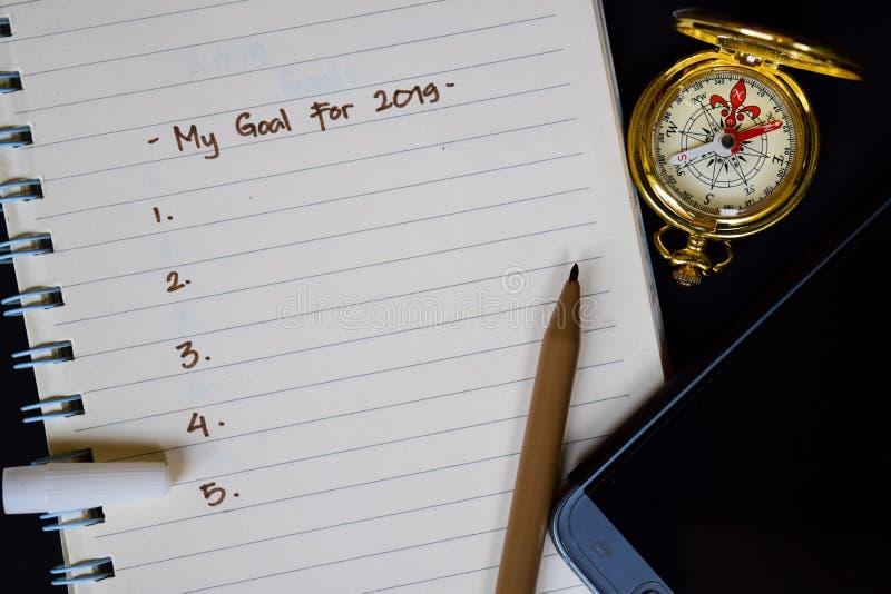 Ο στόχος μου για το κείμενο του 2019 στο σημειωματάριο στοκ εικόνες