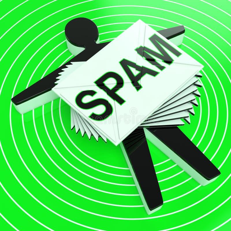 Ο στόχος Spam εμφανίζει στα παλιοπράγματα εκούσιο ανεπιθύμητο ηλεκτρονικό ταχυδρομείο διανυσματική απεικόνιση