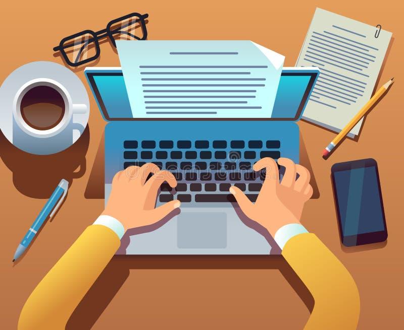 Ο συγγραφέας γράφει το έγγραφο Ο δημοσιογράφος δημιουργεί τη αφήγηση με το lap-top τα χέρια υπολογιστών πλη&kapp Γράψιμο ιστορίας διανυσματική απεικόνιση
