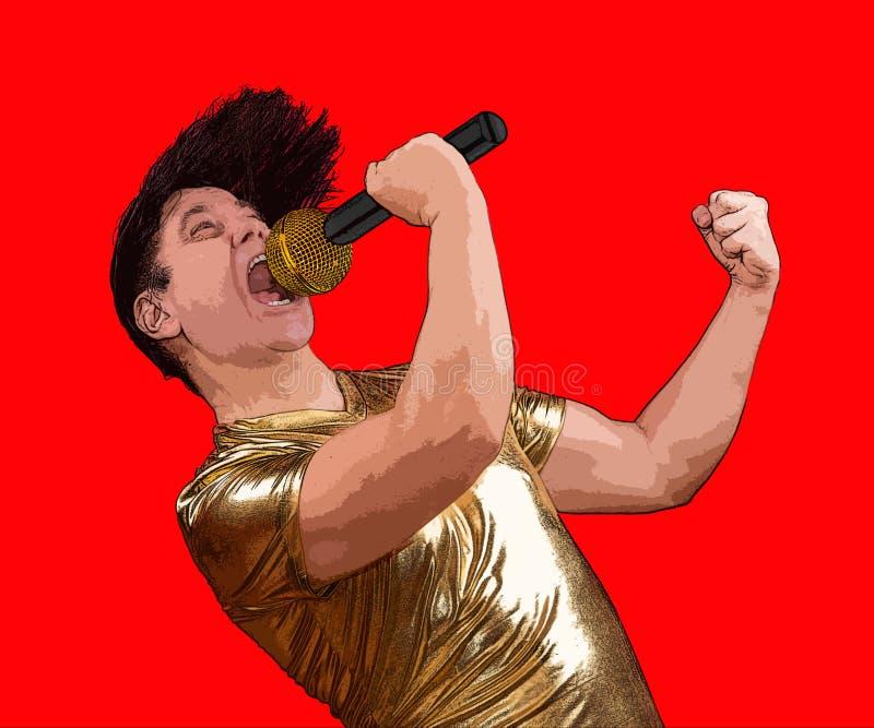 Ο συγκινημένος τραγουδιστής με ένα μικρόφωνο απεικόνιση αποθεμάτων