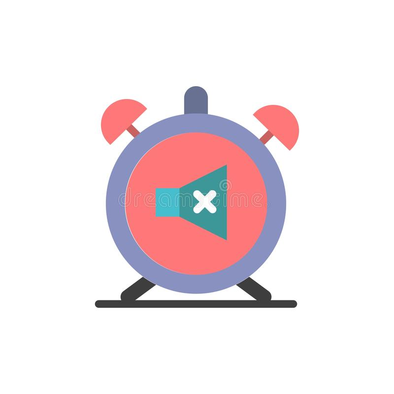 Ο συναγερμός, ρολόι, μουγγός, μακριά, ηχεί το επίπεδο εικονίδιο χρώματος Διανυσματικό πρότυπο εμβλημάτων εικονιδίων απεικόνιση αποθεμάτων