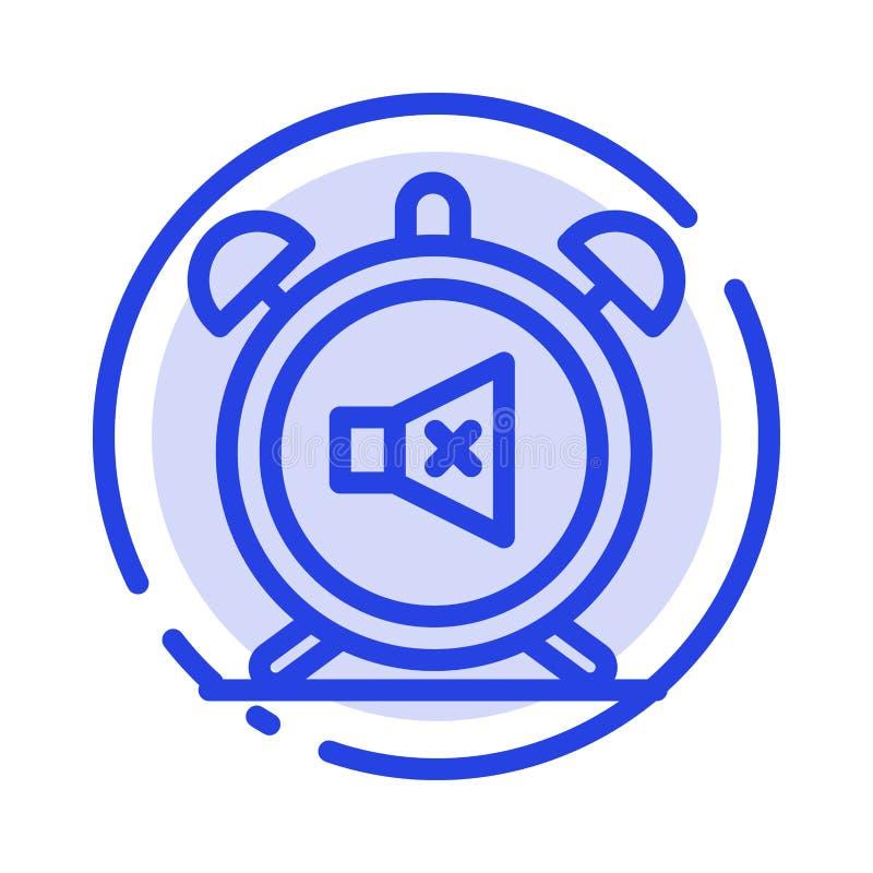Ο συναγερμός, ρολόι, μουγγός, μακριά, ηχεί το μπλε εικονίδιο γραμμών διαστιγμένων γραμμών διανυσματική απεικόνιση