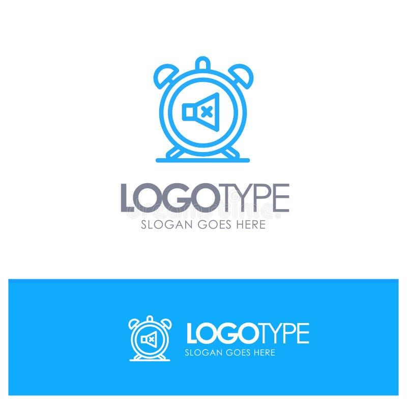 Ο συναγερμός, ρολόι, μουγγός, μακριά, ηχεί το μπλε λογότυπο περιλήψεων με τη θέση για το tagline απεικόνιση αποθεμάτων