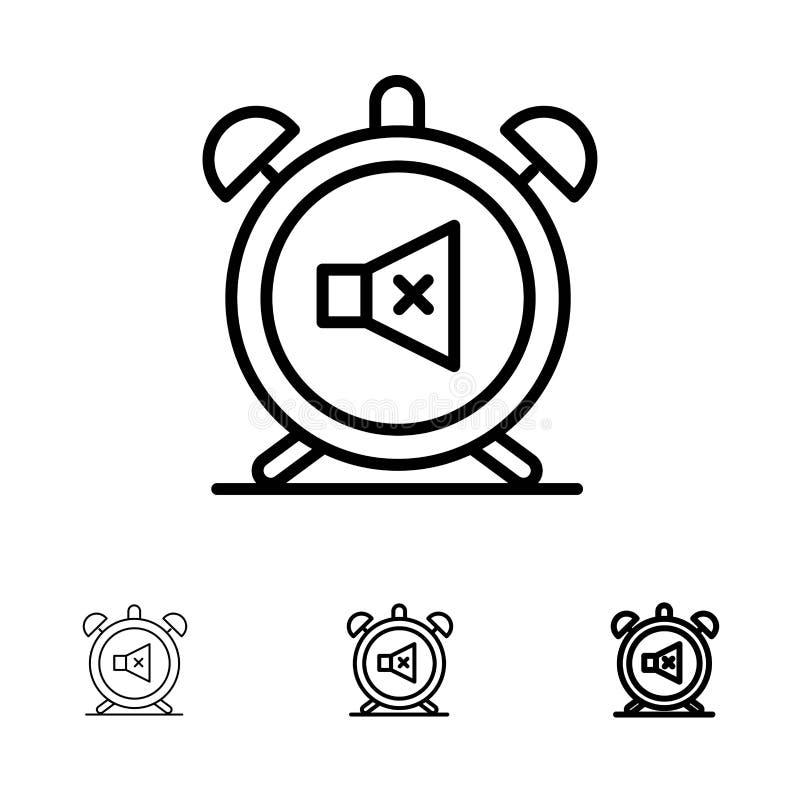 Ο συναγερμός, ρολόι, μουγγός, μακριά, ηχεί το τολμηρό και λεπτό μαύρο σύνολο εικονιδίων γραμμών απεικόνιση αποθεμάτων