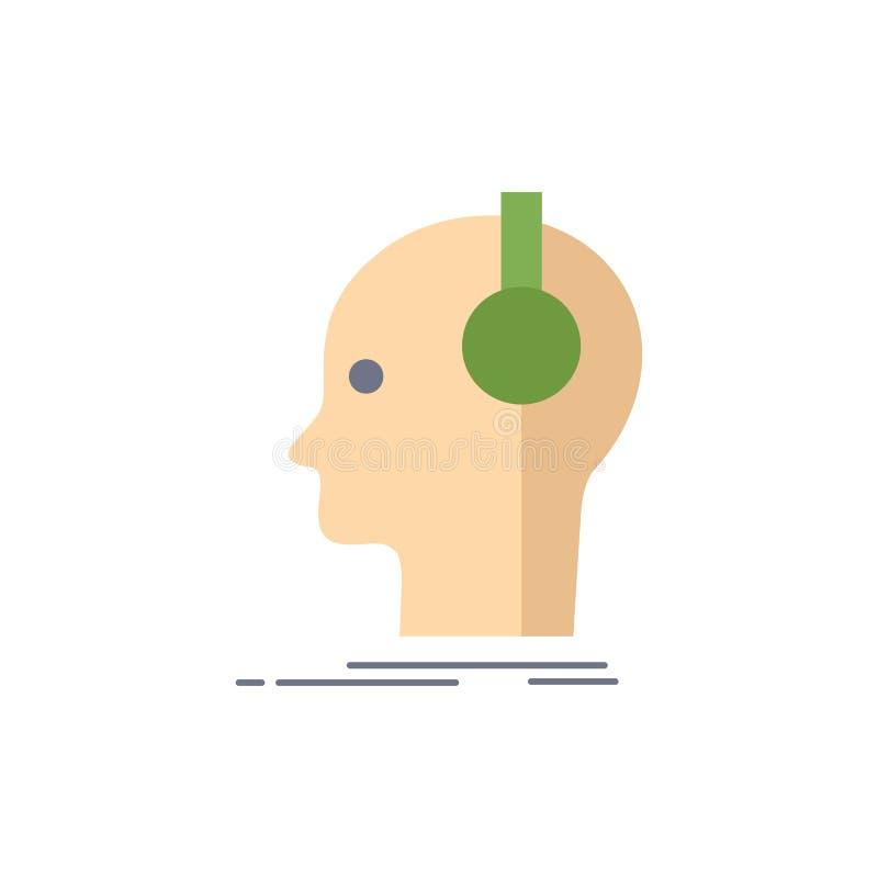 ο συνθέτης, ακουστικά, μουσικός, παραγωγός, ηχεί το επίπεδο διάνυσμα εικονιδίων χρώματος απεικόνιση αποθεμάτων