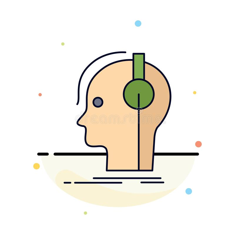 ο συνθέτης, ακουστικά, μουσικός, παραγωγός, ηχεί το επίπεδο διάνυσμα εικονιδίων χρώματος διανυσματική απεικόνιση