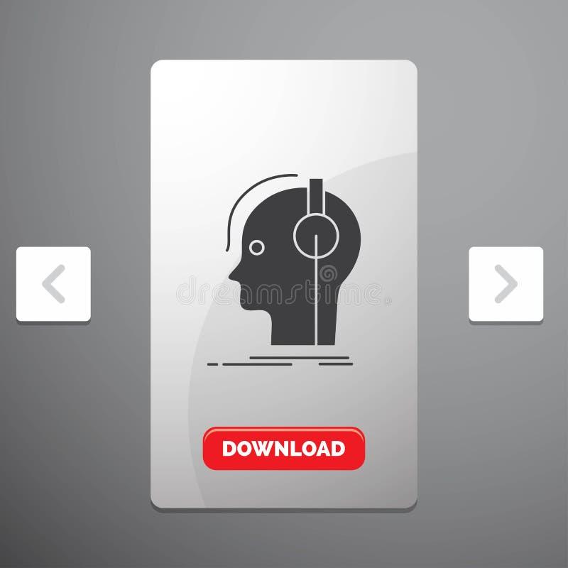 ο συνθέτης, τα ακουστικά, ο μουσικός, ο παραγωγός, το υγιές εικονίδιο Glyph στο σχέδιο ολισθαινόντων ρυθμιστών σελιδοποιήσεων φαγ απεικόνιση αποθεμάτων