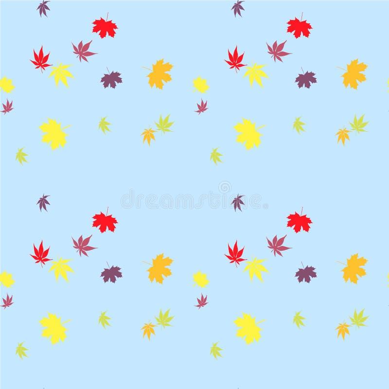Ο σφένδαμνος χρωμάτισε τα φύλλα στο μπλε άνευ ραφής απόθεμα σχεδίων απεικόνιση αποθεμάτων