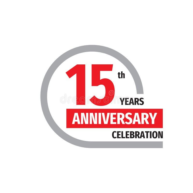 15ο σχέδιο λογότυπων διακριτικών εορτασμού επετείου Δεκαπέντε έτη αφισών εμβλημάτων ελεύθερη απεικόνιση δικαιώματος