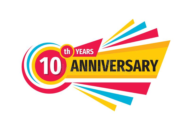 10ο σχέδιο λογότυπων εμβλημάτων γενεθλίων Δέκα επετείου έτη εμβλημάτων διακριτικών Αφηρημένη γεωμετρική αφίσα ελεύθερη απεικόνιση δικαιώματος