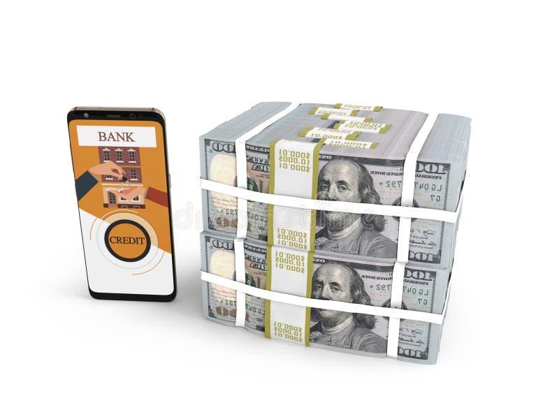 Ο σωρός έννοιας των δολαρίων στο τραπεζικό δάνειο μέσω του smartphone τρισδιάστατου δίνει στο άσπρο υπόβαθρο με τη σκιά ελεύθερη απεικόνιση δικαιώματος