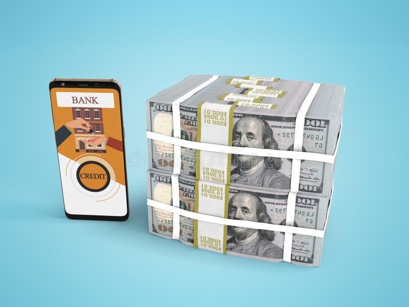 Ο σωρός έννοιας των δολαρίων στο τραπεζικό δάνειο μέσω του smartphone τρισδιάστατου δίνει στο μπλε υπόβαθρο με τη σκιά απεικόνιση αποθεμάτων
