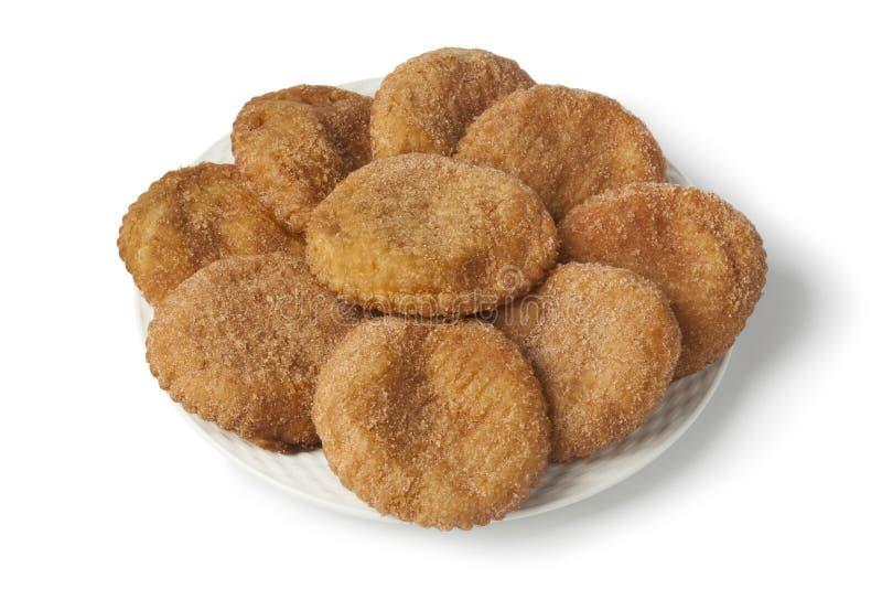 Ο σωρός γλυκαμένα τηγανισμένα fritters μήλων ή στοκ φωτογραφία με δικαίωμα ελεύθερης χρήσης