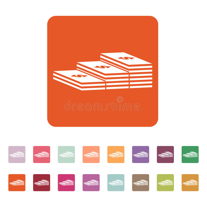 Ο σωρός του εικονιδίου τραπεζογραμματίων Χαρτονόμισμα, τραπεζογραμμάτιο, σύμβολο χρημάτων επίπεδος ελεύθερη απεικόνιση δικαιώματος