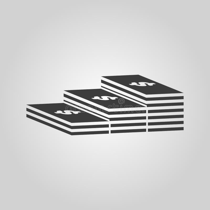 Ο σωρός του εικονιδίου τραπεζογραμματίων Χαρτονόμισμα, τραπεζογραμμάτιο, σύμβολο χρημάτων επίπεδος διανυσματική απεικόνιση