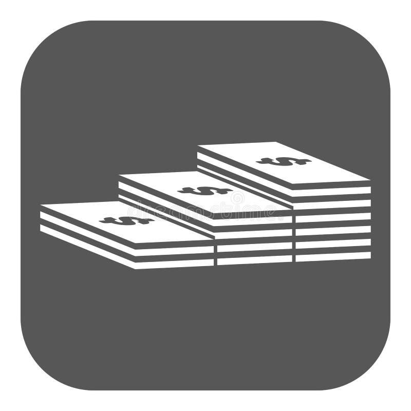 Ο σωρός του εικονιδίου τραπεζογραμματίων Χαρτονόμισμα, τραπεζογραμμάτιο, σύμβολο χρημάτων επίπεδος απεικόνιση αποθεμάτων