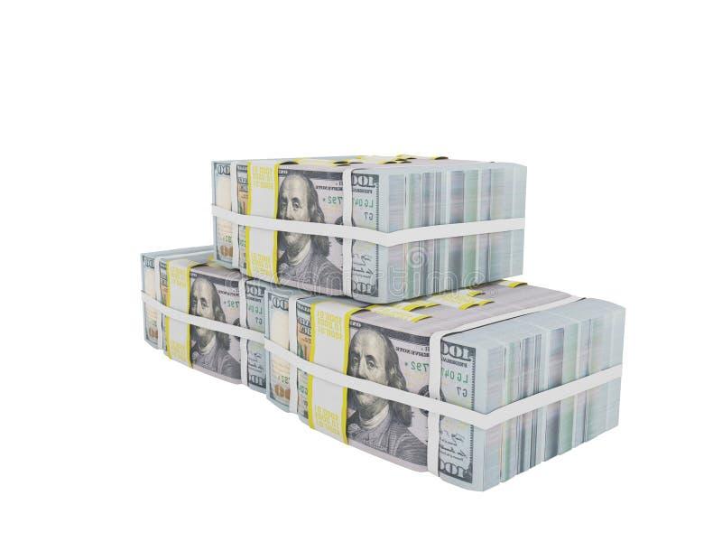 Ο σωρός των δολαρίων τρία πακέτα μπροστινό σωστό σε τρισδιάστατο δίνει στο άσπρο β απεικόνιση αποθεμάτων