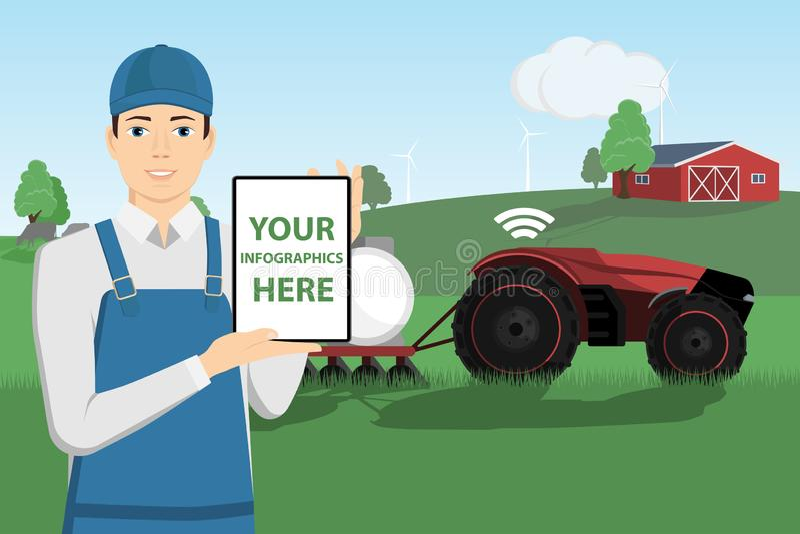 Ο σύγχρονος αγρότης ελέγχει το αυτόνομο τρακτέρ ελεύθερη απεικόνιση δικαιώματος
