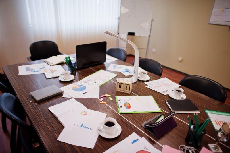 Ο σύγχρονος δημιουργικός εργασιακός χώρος με το lap-top, την ταμπλέτα, τον εξοπλισμό και τον πίνακα οδήγησε το λαμπτήρα Έννοια σχ στοκ εικόνες με δικαίωμα ελεύθερης χρήσης