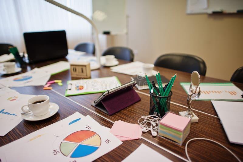 Ο σύγχρονος δημιουργικός εργασιακός χώρος με το lap-top, την ταμπλέτα, τον εξοπλισμό και τον πίνακα οδήγησε το λαμπτήρα Έννοια σχ στοκ εικόνες
