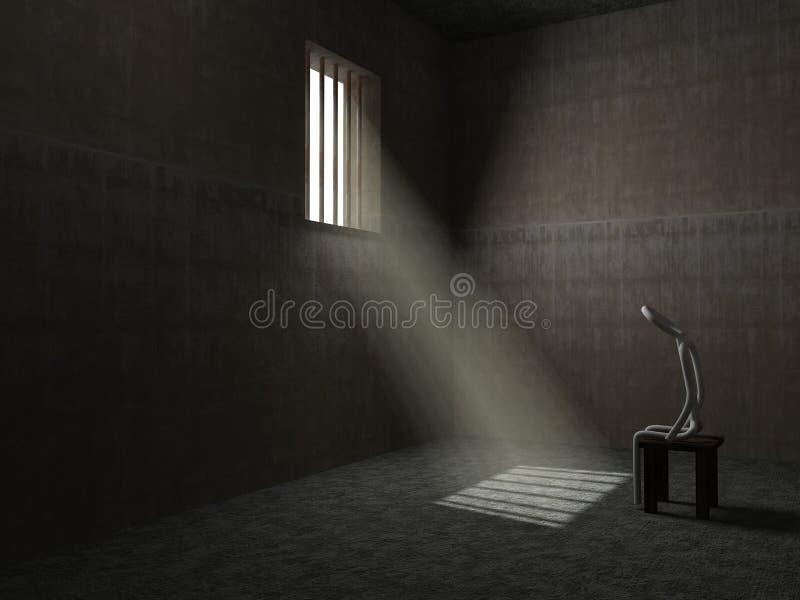 Ο σύζυγος είναι στη φυλακή - εννοιολογική εικόνα ελεύθερη απεικόνιση δικαιώματος