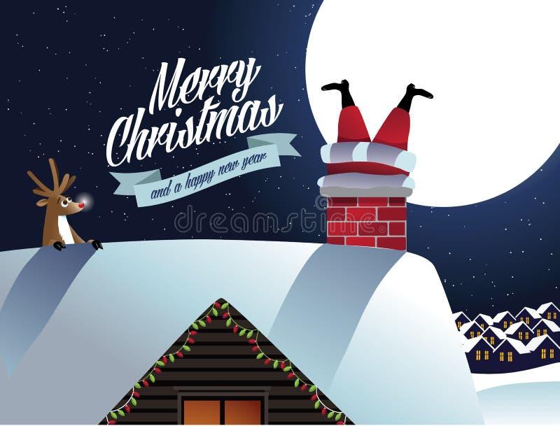 Ο τάρανδος Χαρούμενα Χριστούγεννας βλέπει Άγιο Βασίλη κόλλησε στην καπνοδόχο απεικόνιση αποθεμάτων