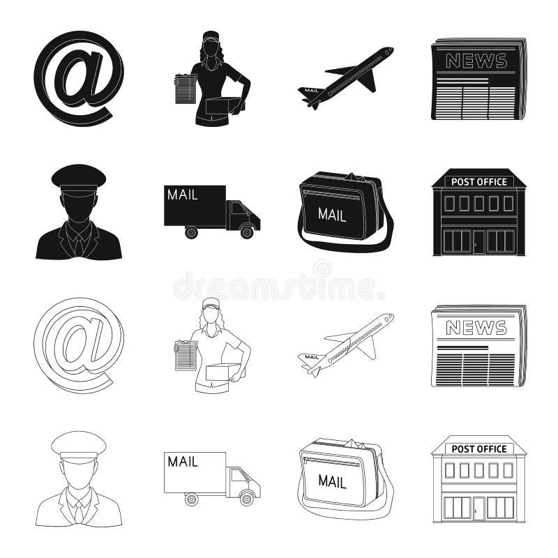 Ο ταχυδρόμος στην ομοιόμορφη, μηχανή ταχυδρομείου, τσάντα για την αλληλογραφία, ταχυδρομικό γραφείο Καθορισμένα εικονίδια συλλογή ελεύθερη απεικόνιση δικαιώματος