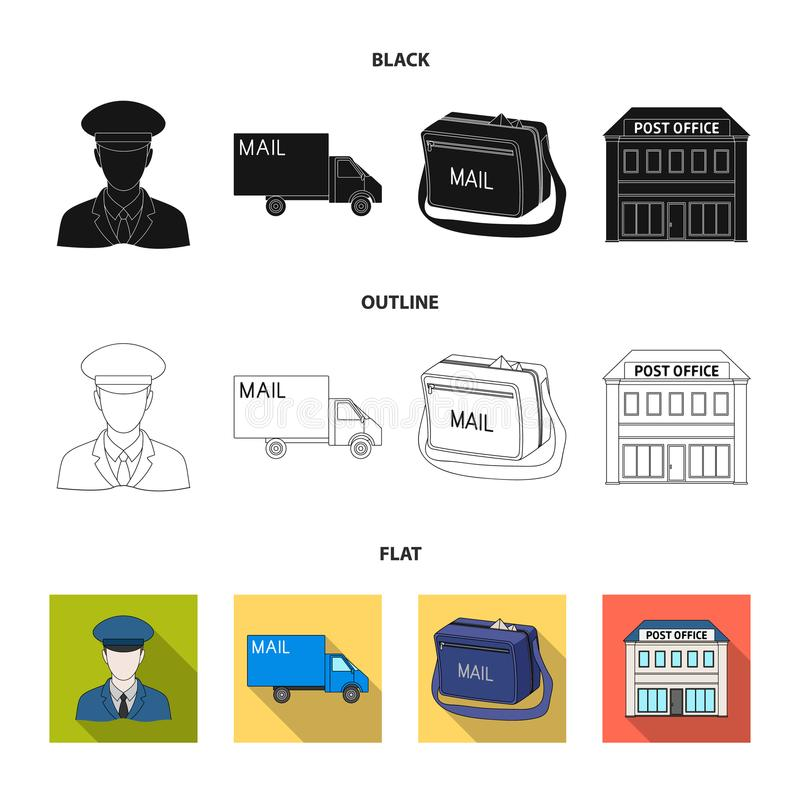 Ο ταχυδρόμος στην ομοιόμορφη, μηχανή ταχυδρομείου, τσάντα για την αλληλογραφία, ταχυδρομικό γραφείο Καθορισμένα εικονίδια συλλογή απεικόνιση αποθεμάτων