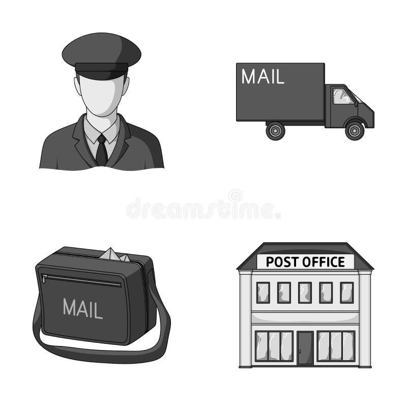Ο ταχυδρόμος στην ομοιόμορφη, μηχανή ταχυδρομείου, τσάντα για την αλληλογραφία, ταχυδρομικό γραφείο Καθορισμένα εικονίδια συλλογή διανυσματική απεικόνιση